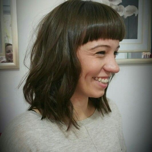 Blunt arched fringe teamed with a textured long bob @tinamorganhair ❤ ❤ ❤
