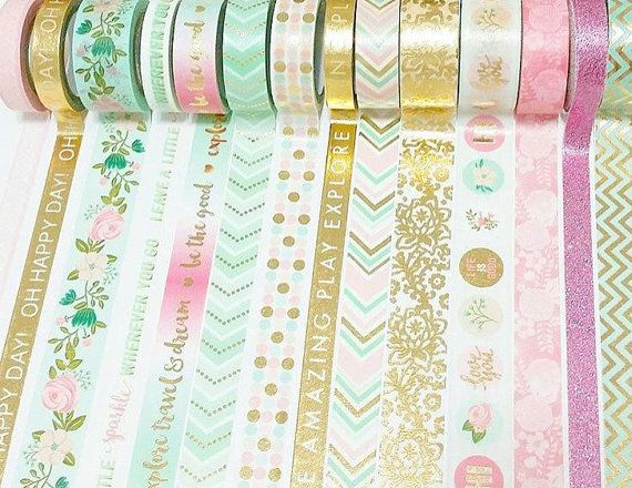 New! Recollections Phrase - Mint, Pink, White with Gold Foil Washi Tape Set