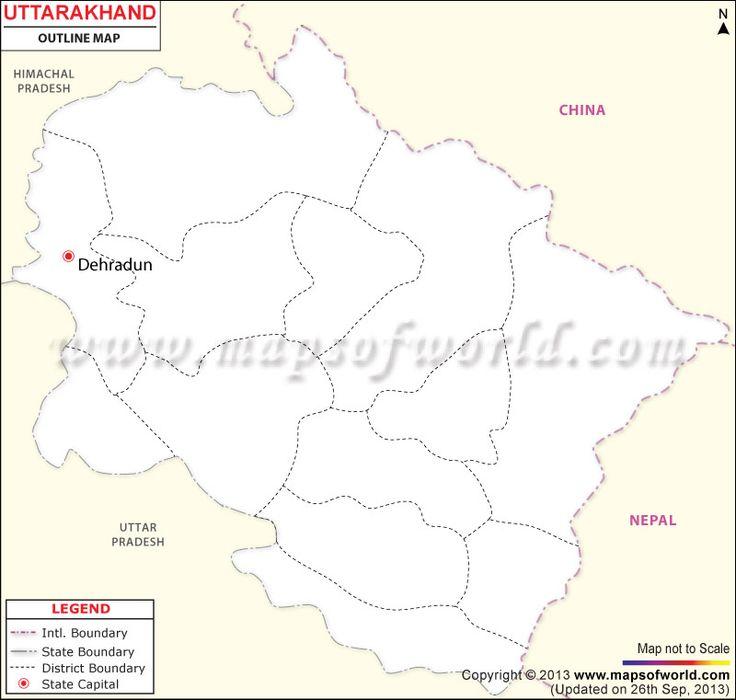Uttarakhand Outline Map | Outline | Map outline, Outline, Map