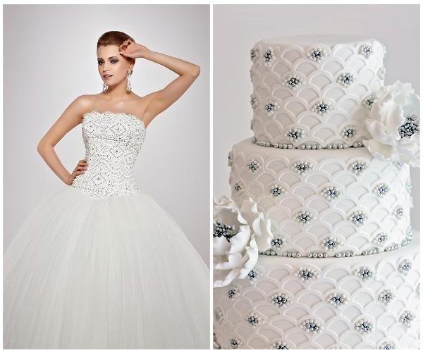 Affezione trouwjurk met bruidstaart combinatie van www.honeymoonshop.nl