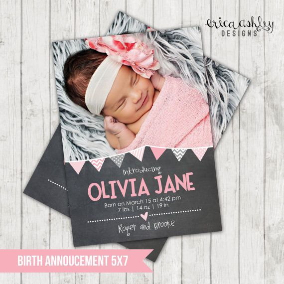 Chalkboard Pennant Banner Birth Announcement // Digital File // 5x7 on Etsy, $12.74 AUD