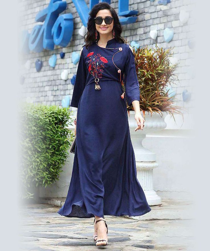 Blue Color Rayon western Gown Kurti