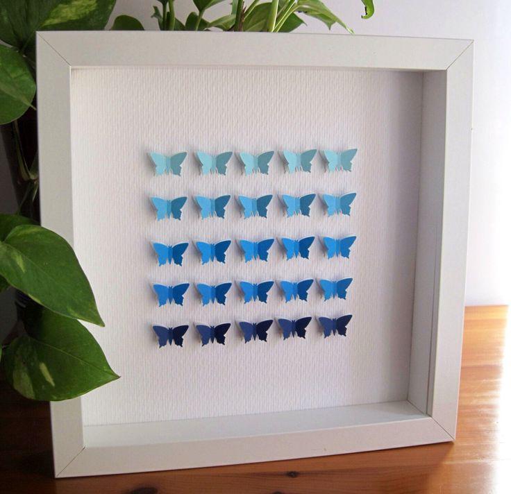 Farfalle di carta 3D / parete arte / home decor / matrimonio / arredamento scuola materna / blu farfalle di GosiaandHelena su Etsy https://www.etsy.com/it/listing/171767773/farfalle-di-carta-3d-parete-arte-home