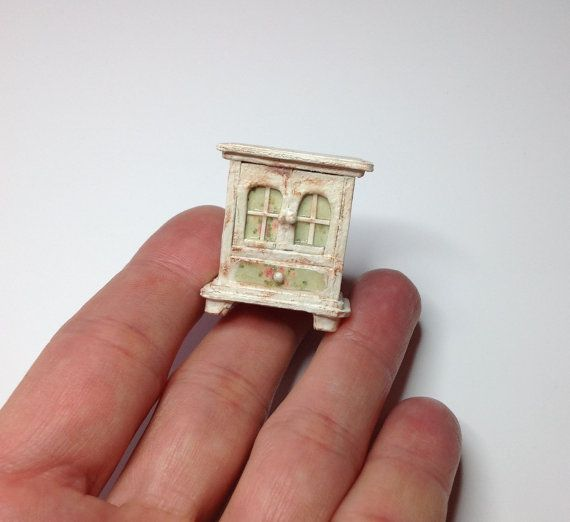 Miniature 1/4 1:48 Quarter Inch Scale Hutch Dresser Cabinet Shabby Chic Furniture Doll House OOAK