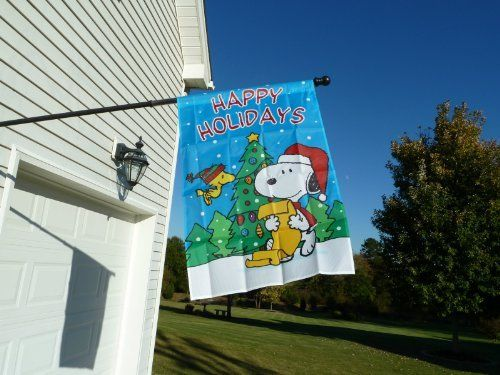 "PEANUTS SNOOPY AND WOODSTOCK HAPPY HOLIDAYS FLAG~25""x38""~SNOOPY SANTA READING A CHRISTMAS LIST~BRAND NEW AND SEALED~ . $21.89. CHRISTMAS. FLAG. SNOOPY. PEANUTS. This is a brand new, colorful, heavy duty flag that can be used indoors or outdoors (flagpole not included). It depicts Snoopy wearing a Santa cap and he reading a Christmas list, probably Woodstock's. See Woodstock wearing a winter cap and smiling in front of the outdoors Christmas as it is peacefully snowi..."