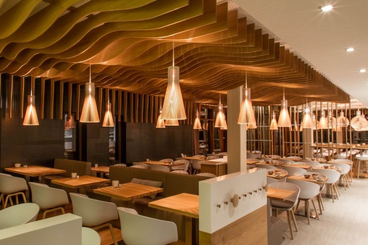 Deichkind, the restaurant of StrandGut Resort Lifestyle Hotel in St. Peter-Ording in Germany has mix of Secto 4200 and Octo 4240 pendants. Interior design and photo by Cubik³. www.sectodesign.fi