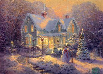Christmas home with snow