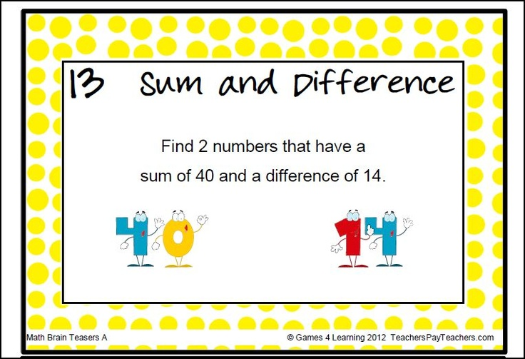 These math brain teasers will challenge them! This collection of ...