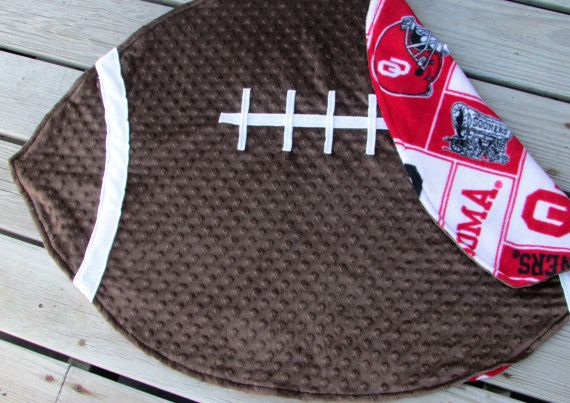 Oklahoma University Football Baby Blanket with optional name applique by LovePitterPatter  BOOMER SOONER!