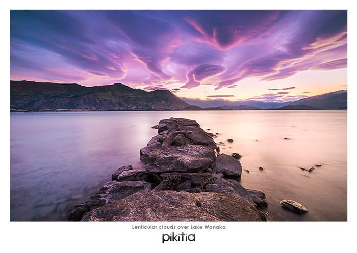 Postcard 'Lenticular clouds over Lake Wanaka' which is found in Pikitia's high quality range of postcards