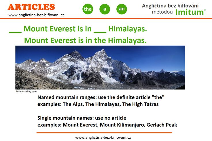 Zde je správná odpověď a vysvětlení ohledně mini kvízu k používání členů v angličitně u hor a pohoří.