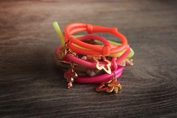 Rubber cord bracelet by chrikou on Etsy, €6.00