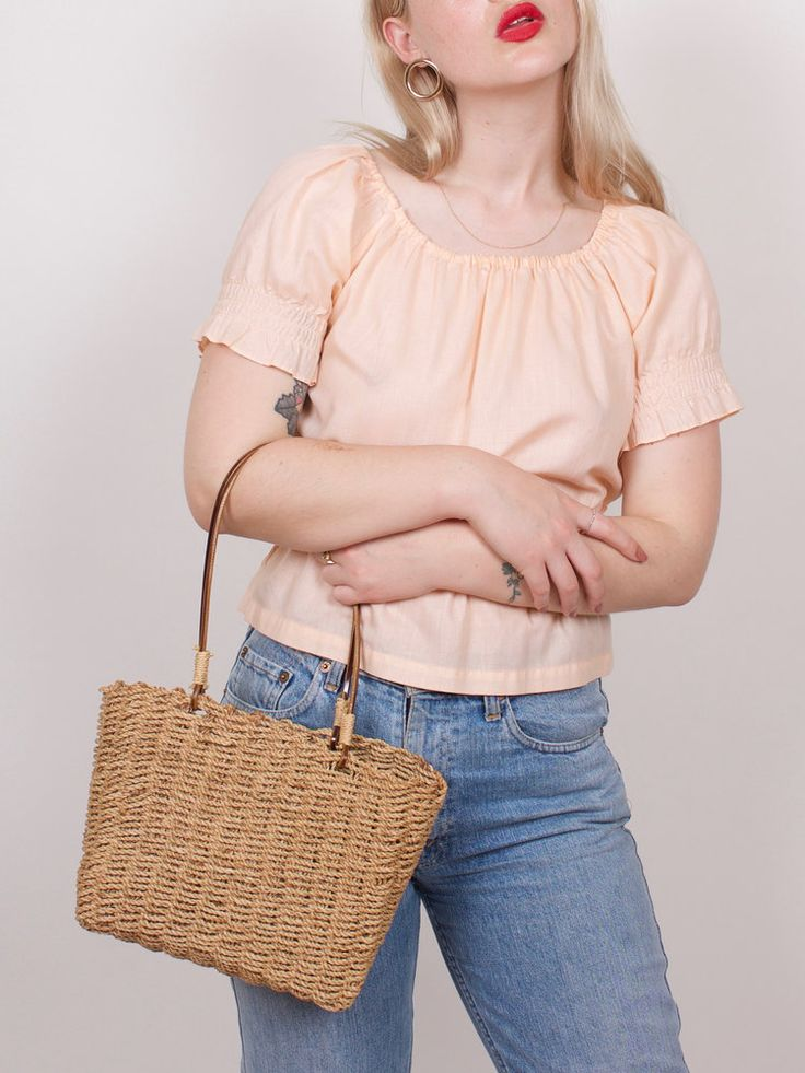 graceland collection Vintage Peachy Smocked Seventies Top
