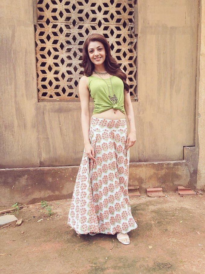 Kajal Agarwal in long skirt and crop top