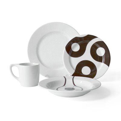 notNeutral 010 Links 16-Piece Dinnerware Set w/White-on-White Dinner Plates