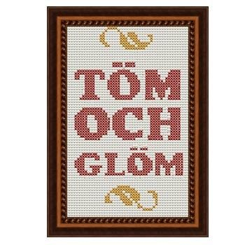 Fuldesign cross stitch embroidery pattern  Töm och glöm