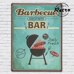 CARTEL DE CHAPA RETRO BARBECUE