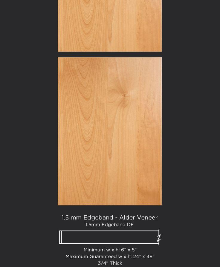 Modern alder veneer cabinet door with matching vertical grain drawer front by TaylorCraft Cabinet Door Company http://taylorcraftdoor.com