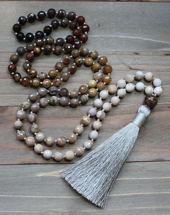 Silk Tassel Mala Natural Wood Mala Beads Knotted Mala Beads Wood 108 Bead Mala Bohemian Necklace Tassel Mala Necklace