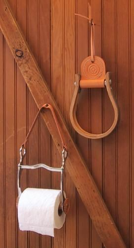 Horse bit toilet paper holder, how fun!I am so doing this when I have a place of my own!