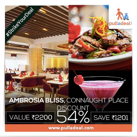 Experience bliss with ‪#‎Ravishing‬ ‪#‎FoodAndDrinks‬ and a soothing ambience in ‪#‎AmbrosiaBliss‬ with exciting deal available at www.pulladeal.com  Strike a Deal here: http://goo.gl/9fU0vx