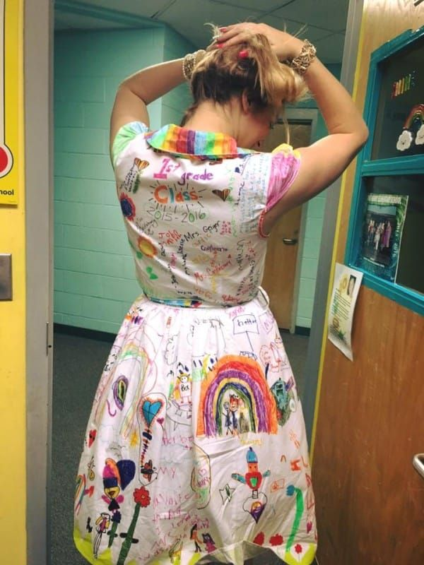 Teacher Wears Dress Featuring Her Students' Artwork On The Last Day Of School