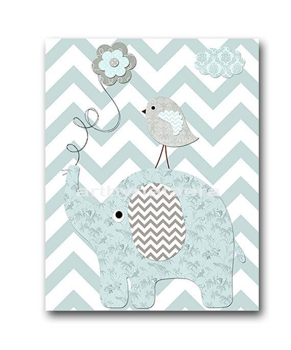 Décor de chambre de bébé éléphant bébé garçon pépinière Art pépinière mur Art crèche enfants chambre décor enfants Art bébé imprimé éléphant gris bleu