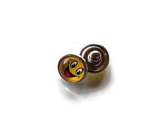 bouton snap chunk visage souriant jaune12 mm cabochon pour bijoux personnalisables B066 : Autres accessoires bijoux par mamiechantal-screations