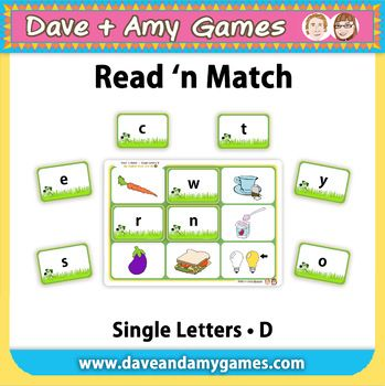 Read 'n Match: ABC Phonics A great game for beginning readers. Children MATCH the LOWER CASE LETTER on the CARD to the PICTURE on the BOARDS. 1 - 8 players. Children learn new vocabulary AS they learn the phonetic sound of all letters.