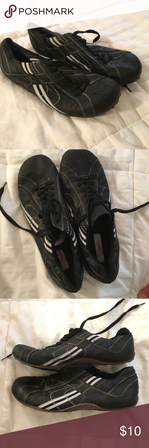 Candies Kazzaz Flat cracked faux leather shoes Decent condition. Used but not warn. Nice flat athletic looking shoes. Has cracked soft leather appearance. All man made materials. Candie's Shoes Flats & Loafers