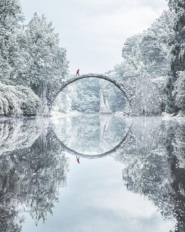 rakotzbrücke (devil's bridge) in winter, kromlauer park, germany | travel destinations in europe + architecture #wanderlust