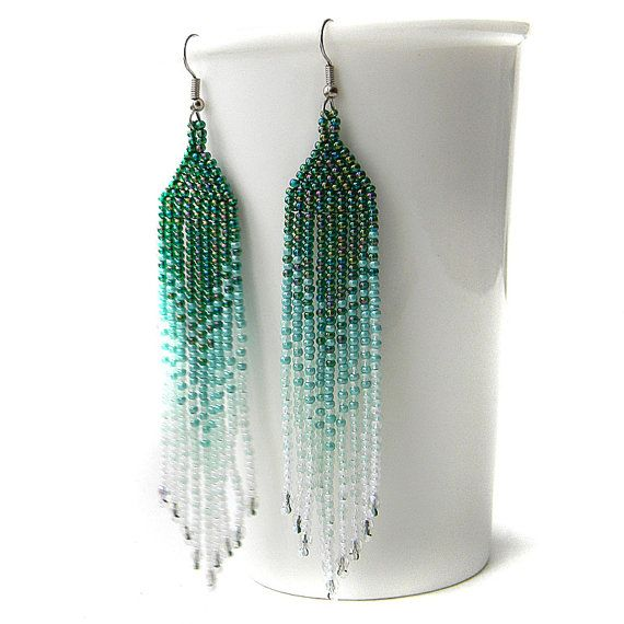 Green / teal / white seed bead earrings  - beadwork jewelry - beaded fringe earrings