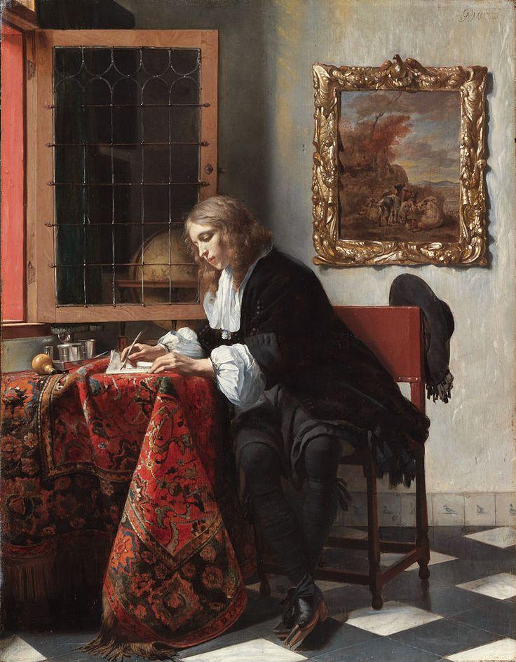 Gabriël Metsu (Dutch Golden Age painter, 1629–1667) Man Writing a Letter, circa 1664-1666. Oil on panel, 20.7 × 15.8 in (52.5 × 40.2 cm). National Gallery of Ireland, Dublin, Ireland.