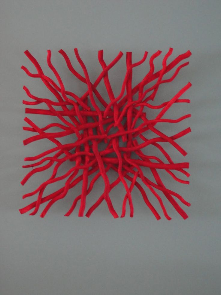 DrifTw00d painTed Red & arranged & glued T0geTHer f0r WaLL ArT