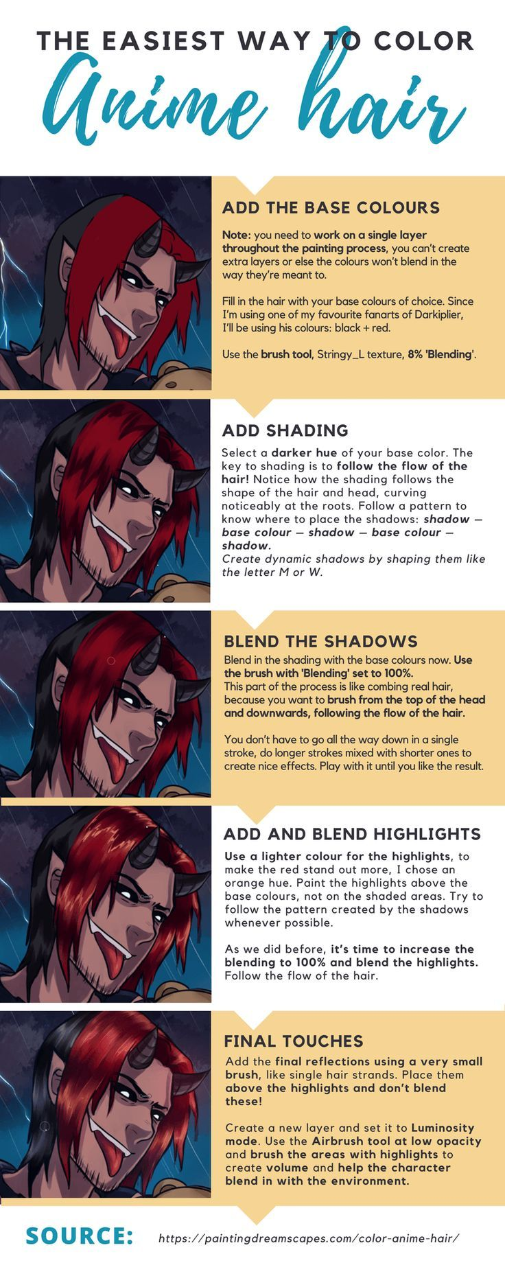 How To Color Anime Hair In Sai For Awesome Easy Quick Results Painting Dreamscapes How To Draw Anime Hair Anime Hair Easy Drawings