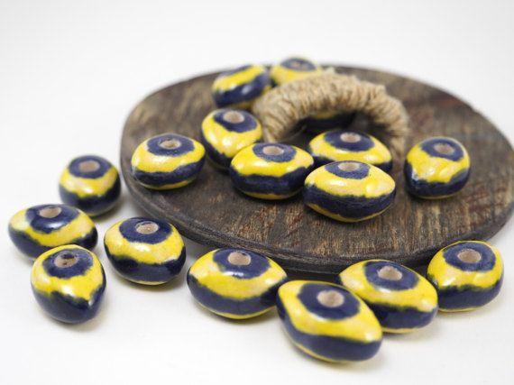Ceramic beads for necklace2 pcs20x14 mmClay от ArtKareliaBeads