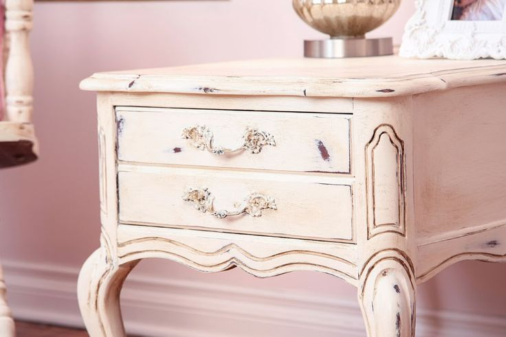 "Detail of the shabby chic-ed nightstand from our décor ""La Pompadour"""