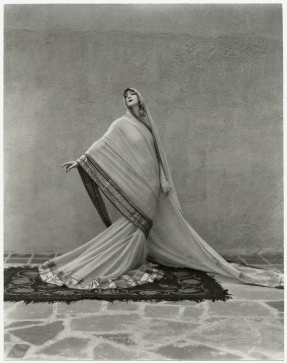 "Ruth St. Denis in her solo Tagore Poem (1929). Thom Hecht writes, ""St. Denis's repertoire reflects her life-long interest in exoticism and spirituality."" (Photo by Soichi Sunami. The New York Public Library for the Performing Arts, Dance Division.)"