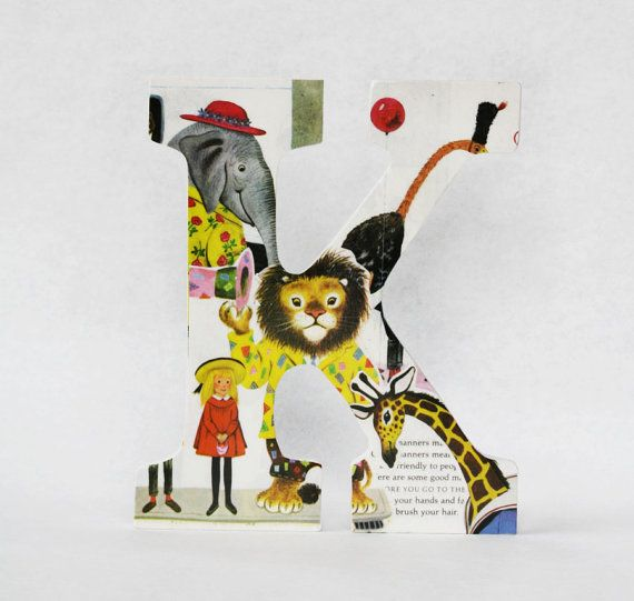 """Decoupage letter """"K"""", My Little Golden Book of Manners"""