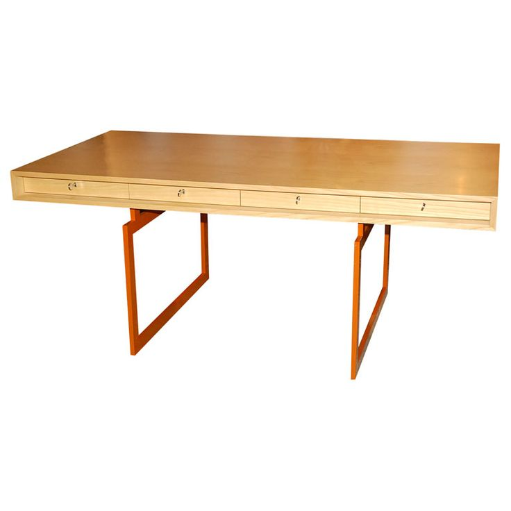 Bodil Kjaer Desk: Re-edition desk in ash veneer with orange painted metal legs. Denmark
