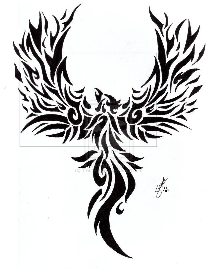 Fire Phoenix Tattoo Designs   fantastic tribal phoenix tattoo designs images