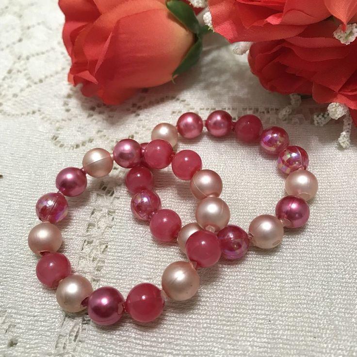 Vintage Pink Pop Beads Bracelet Lot Of 2 Bracelets 60s Snap Beads #Unbranded #Adjustable