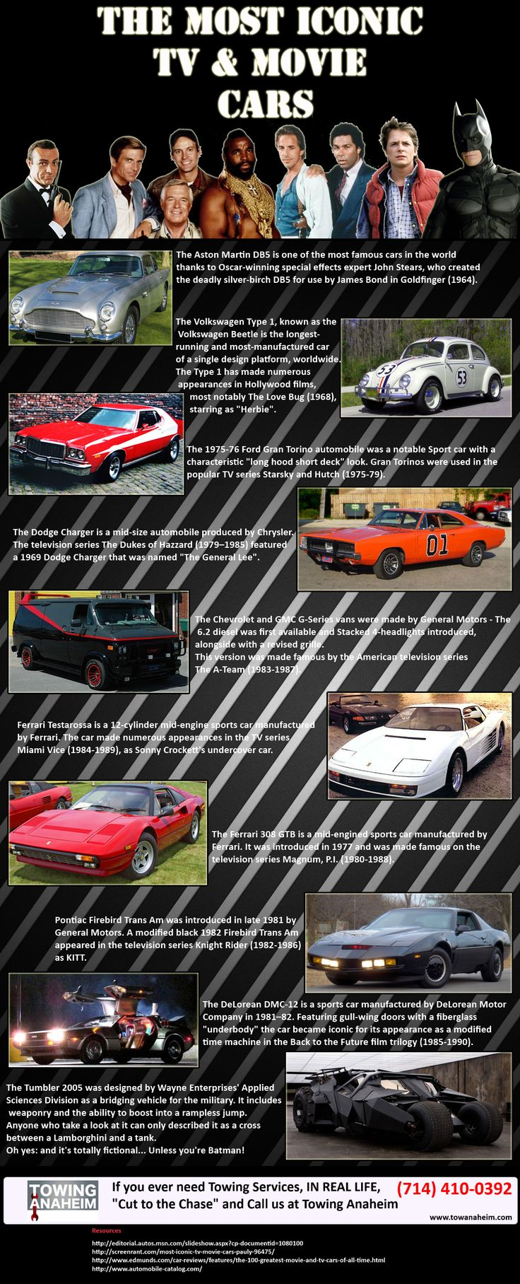 The Most Iconic TV & Movie Cars   #infographic #Movies #cars
