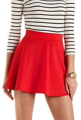 $16, Charlotte Russe Solid High Waisted Skater Skirt. Sold by Charlotte Russe. Click for more info: https://lookastic.com/women/shop_items/136400/redirect