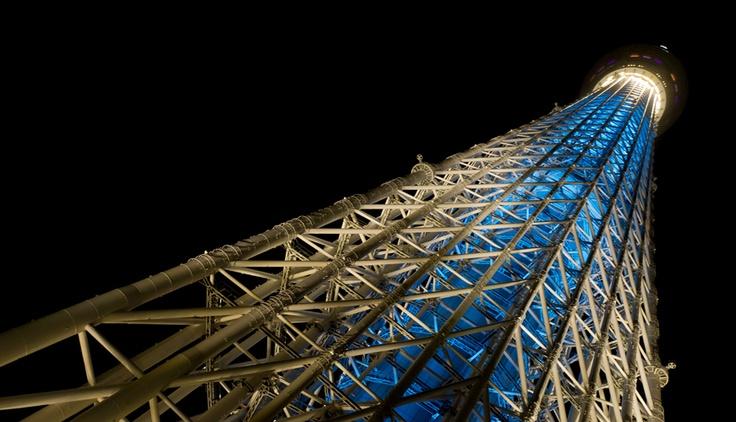 下から見上げるスカイツリー(夜景)  / Free Stock Photos