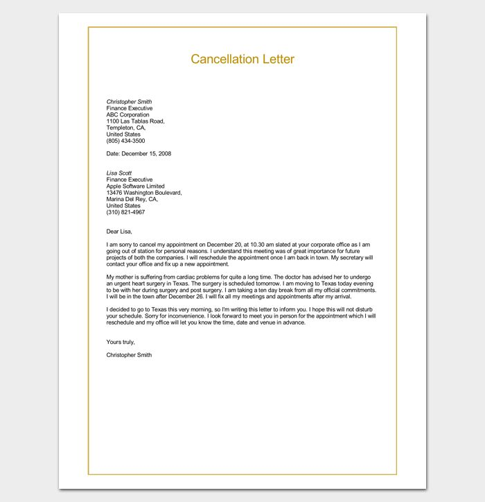 Sample Cancellation Letter Format Word Doc | Letter Templates