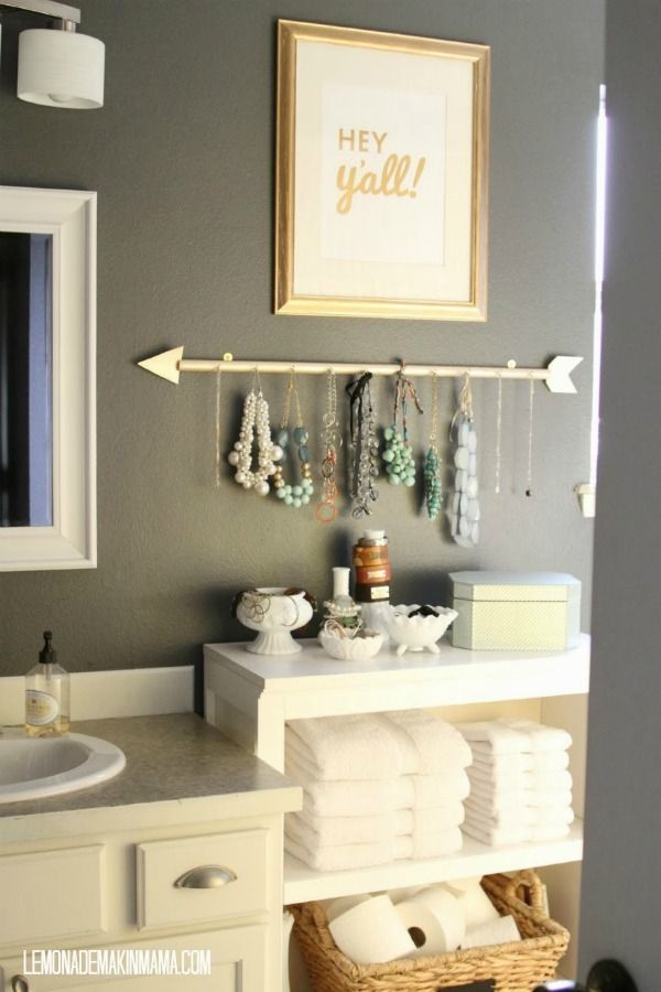 Claim every space on the wall. We love how Lemonade Makin Mama claimed this blank spot and make a homemade jewelry holder.. Bathroom Storage Ideas for Small Spaces; solutions for your everyday family. Bathroom Hacks and Tricks you wish you knew yesterday.