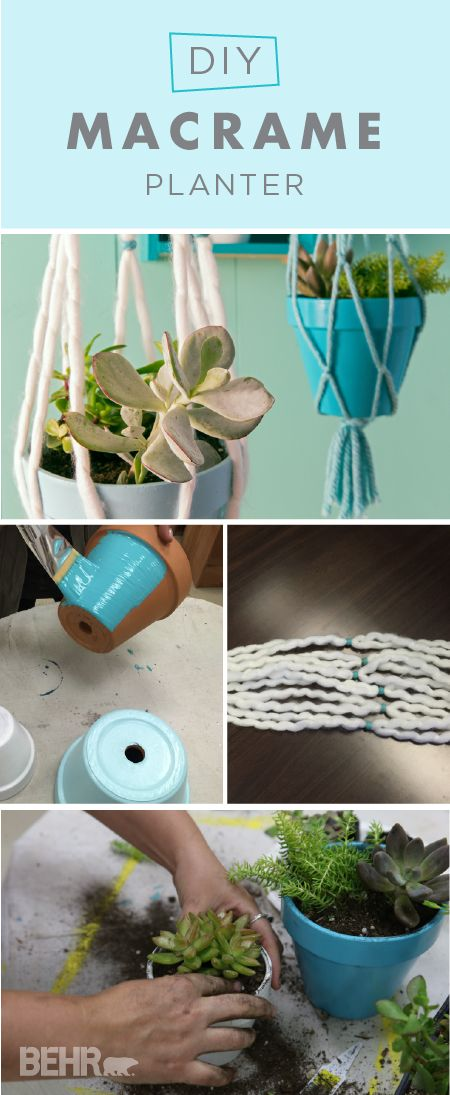 Houseplants are a cheap and easy way to bring a pop of bright color into your home. However, it can be difficult to find new and exciting ways to display them. Use this DIY macrame planter tutorial from BEHR to show off your beautiful plants in a chic and modern way. You can even paint the pots in bright shades of Island Dream, Cameo White, and Misty Isle for an extra splash of color.