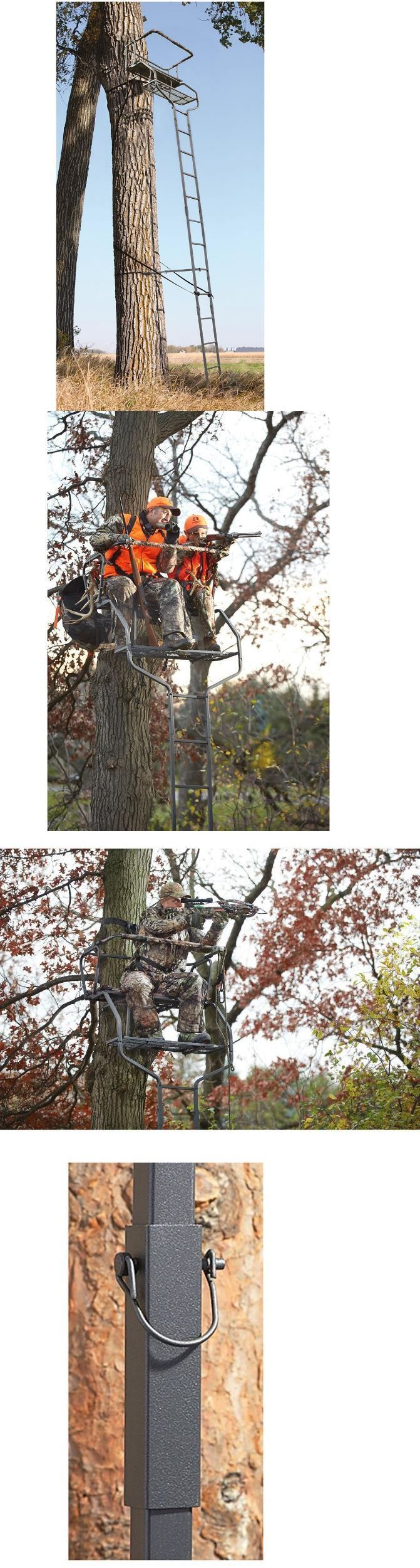 Tree Stands 52508: Climbing Tree Stand Climber Double 2 Person Ladder Blind Deer Bow Rifle Hunting BUY IT NOW ONLY: $149.95