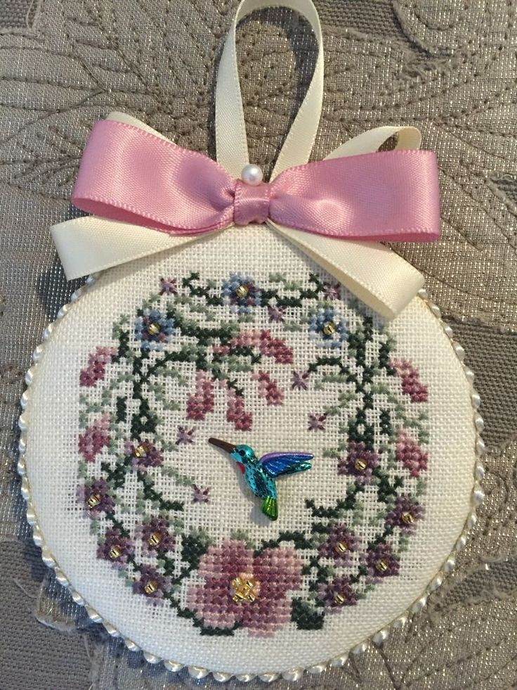 Just Nan Finished Cross Stitch Ornament Honeysuckle Rose | eBay